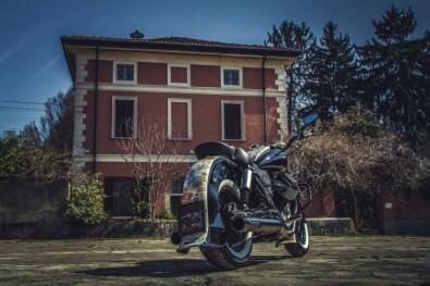 Moto Guzzi V9 Bobber Custom, 'Vecchio Conio' by Rustom [rear distant]