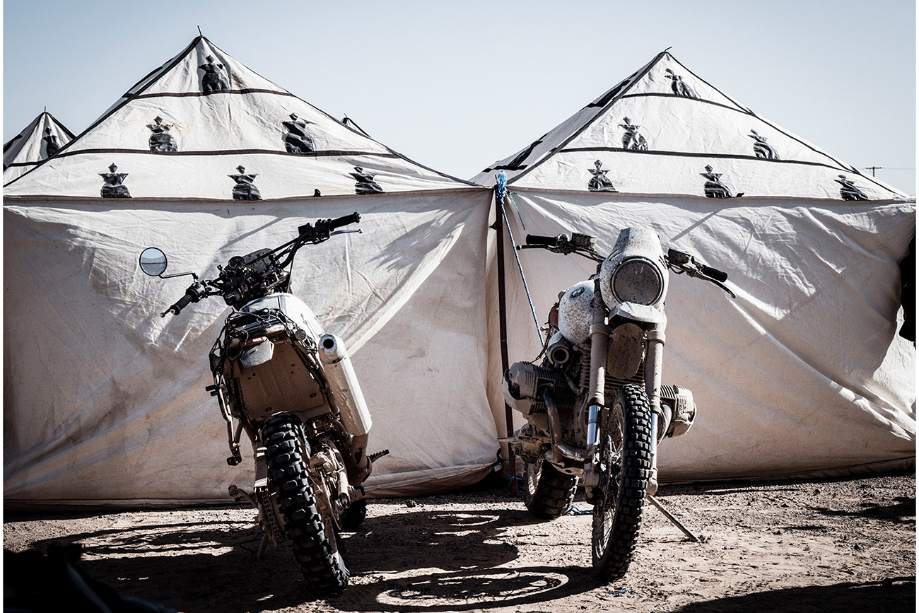 Two Scramblers Motorcycles by Tents Scram Africa 2019