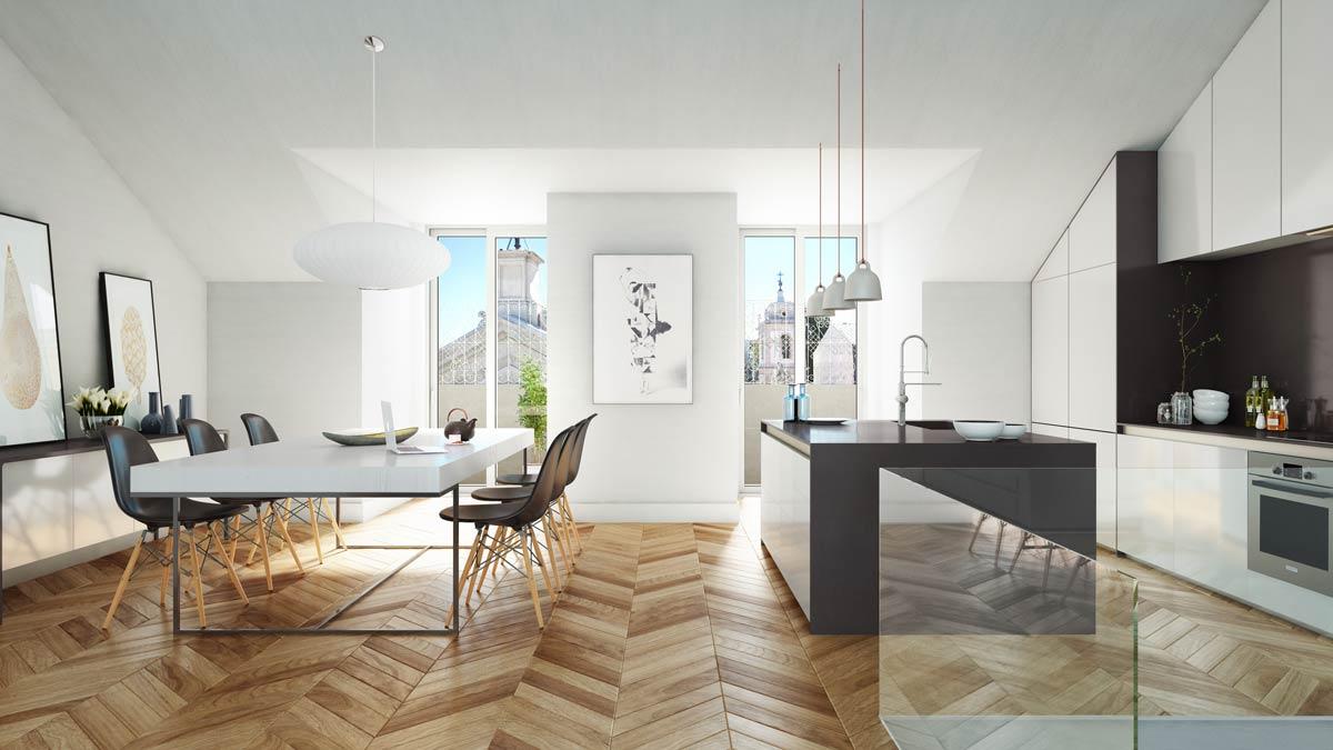 Render y Arquitectura 3D  Render edificio de viviendas en