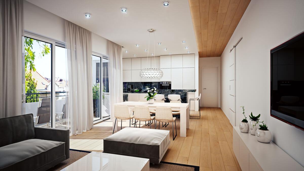 Wohnzimmer Innenarchitektur Visualisierung  Render Vision