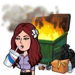 drinking a soda with an apathetic expression while looking away from a dumpster fire