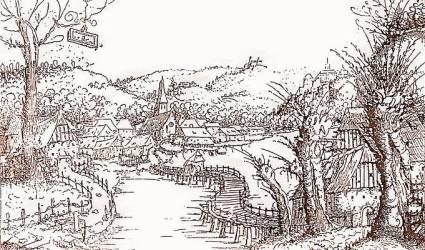 Medieval Fantasy Village Art
