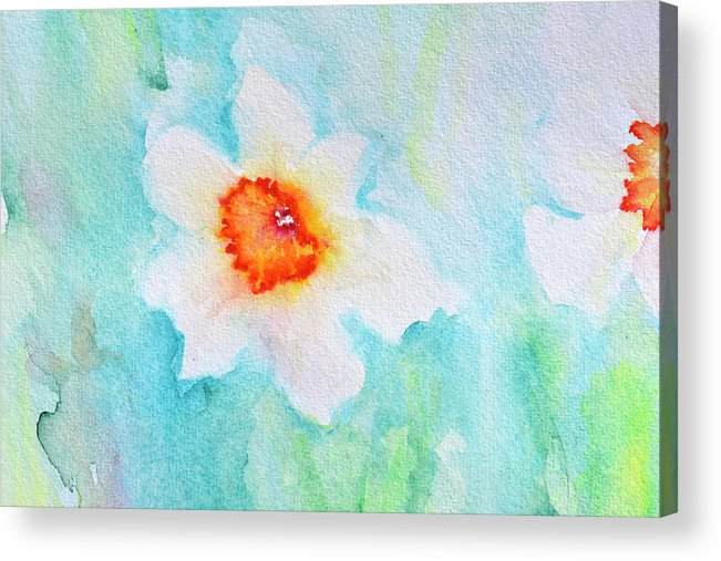 abstract watercolour flowers acrylic