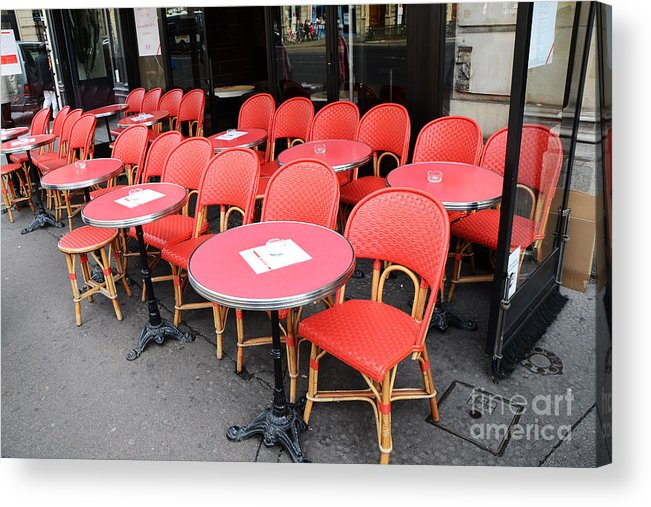 parisian cafe table and chairs loose dining chair covers ireland paris red chaise rouges sidewalk photography acrylic print featuring the photograph