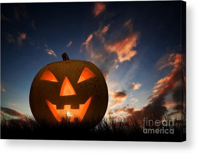 halloween pumpkin glowing under