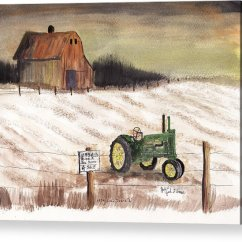 John Deere G Tractor For Sale Vauxhall Astra Wiring Diagram 1934 Model A Acrylic Print By Jack Brauer Rural Barn Fence Snow Featuring The Painting
