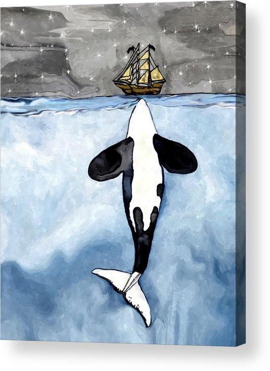 Acrylic Whale Painting : acrylic, whale, painting, Whale, Kisses, Acrylic, Print, Midex, Planet