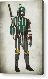 Star Wars Inspired Boba Fett Typography Artwork Acrylic