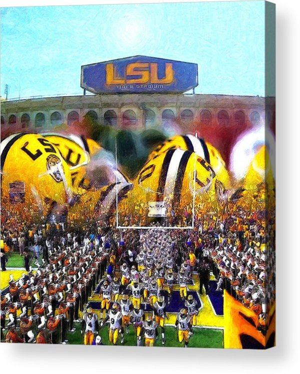 Collage Lsu Tigers Acrylic Print by John Farr