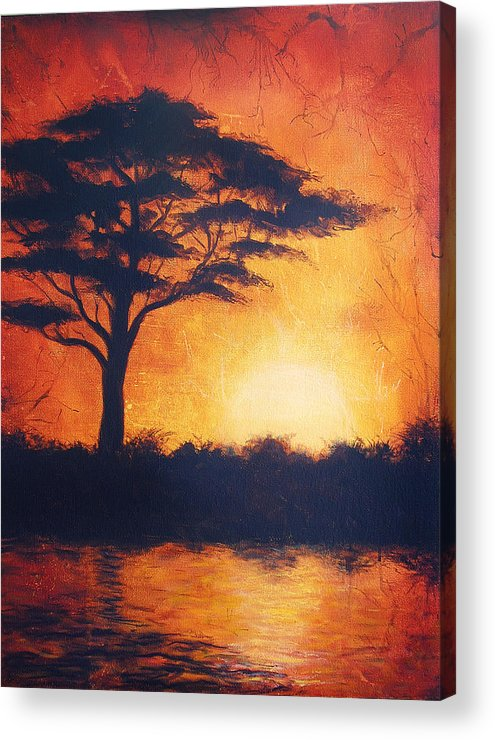 Tree Silhouette Painting : silhouette, painting, Sunset, Africa, Bright, Orange, Tones, Silhouette, Beautiful, Colorful, Painting, Acrylic, Print, Jozef, Klopacka