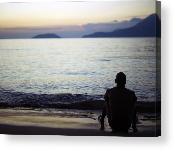 man sitting alone on