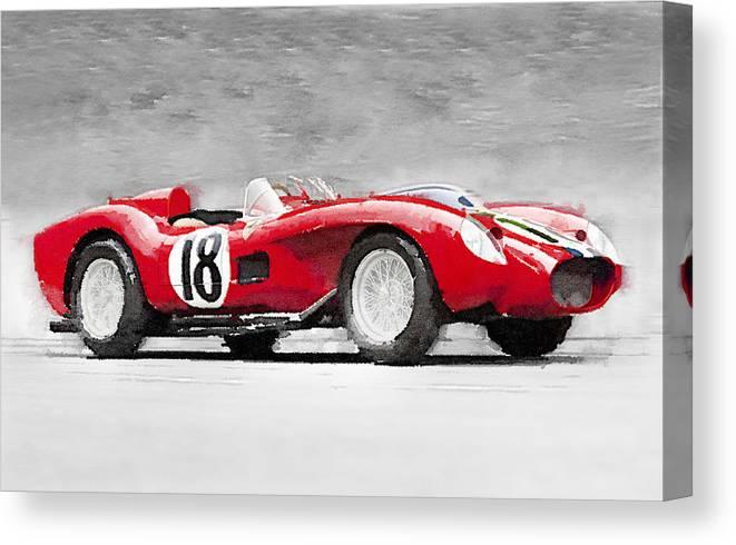 1957 Ferrari Testarossa Watercolor Canvas Print Canvas Art By