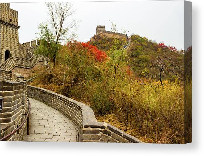 China Canvas Print featuring the photograph On The Great Wall, China by Aashish Vaidya