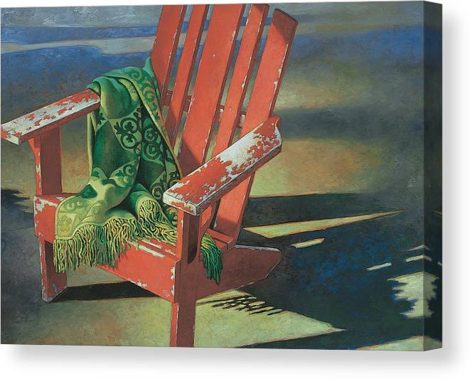red adirondack chairs chair design meaning canvas print art by mia tavonatti featuring the painting