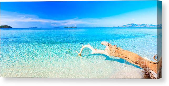 tropical beach panorama canvas