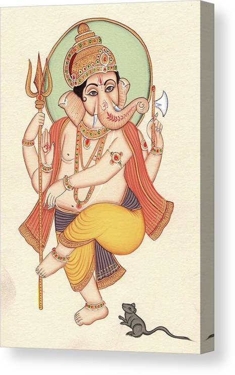 Lord Ganesh Indian Miniature Painting Hindu God Ganesha Ethnic Handmade Artwork Canvas Print Canvas Art By Artnindia