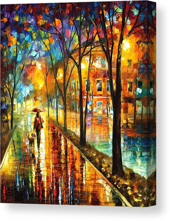 Best Canvas For Oil Painting : canvas, painting, Stroll, Friend, PALETTE, KNIFE, Painting, Canvas, Leonid, Afremov, Print