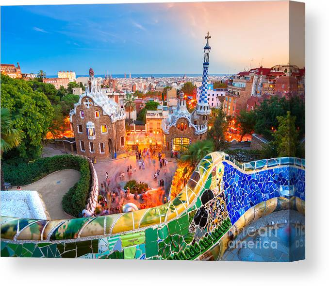Park Guell In Barcelona Spain Canvas Print
