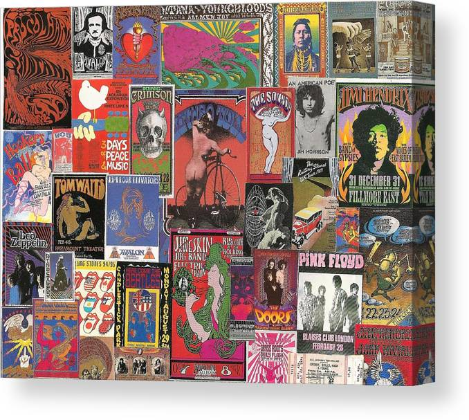 rock concert posters collage