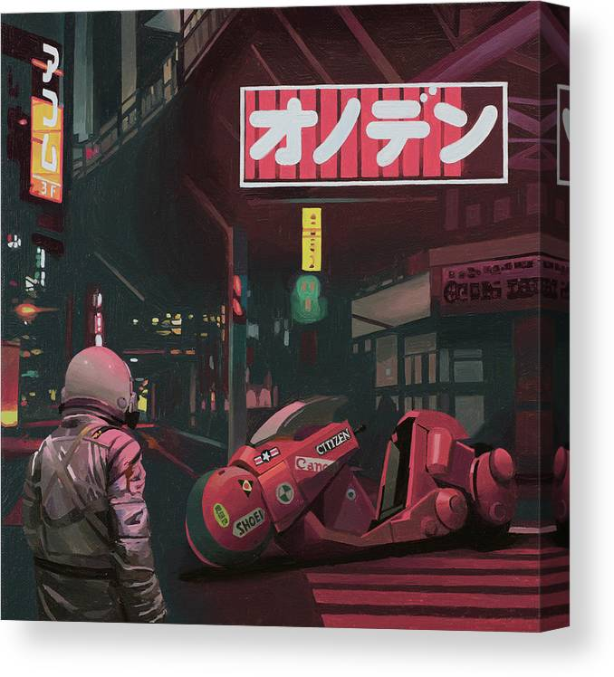 Astronaut Canvas Print featuring the painting Akira by Scott Listfield