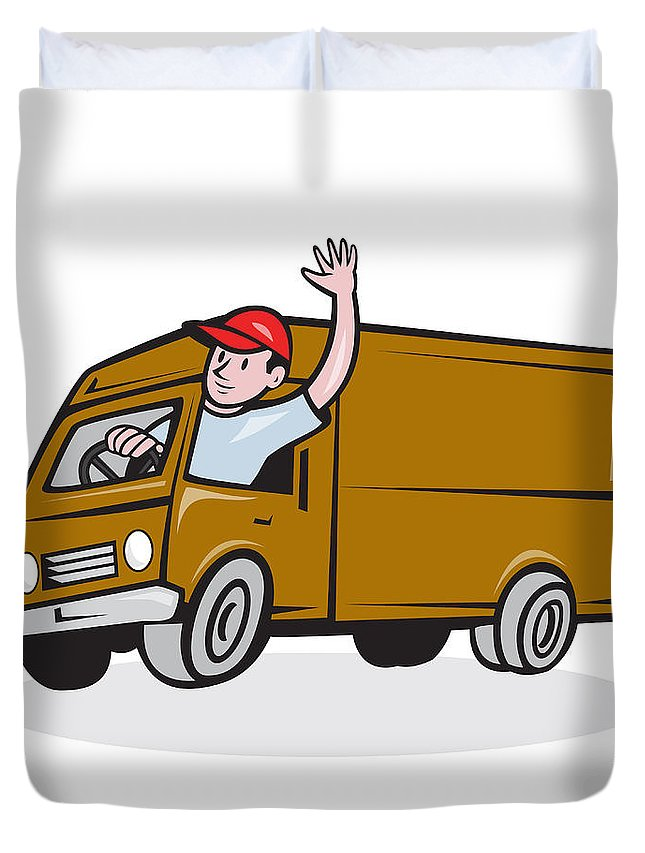 Moving Van Cartoon : moving, cartoon, Delivery, Waving, Driving, Cartoon, Duvet, Cover, Aloysius, Patrimonio
