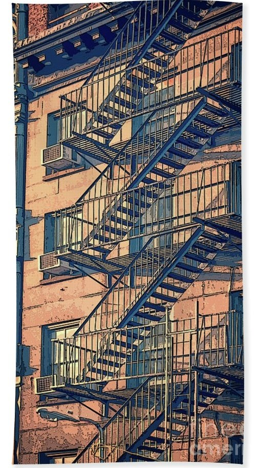 Fire Escape Hand Towel For Sale By Delphimages Photo Creations | Metal Fire Escape Stairs For Sale | Low Poly | Stair Treads | Building | Wrought Iron | Bim Cad