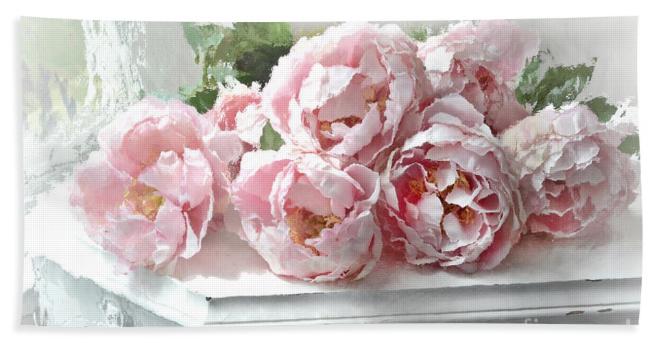 impressionistic watercolor pink peonies