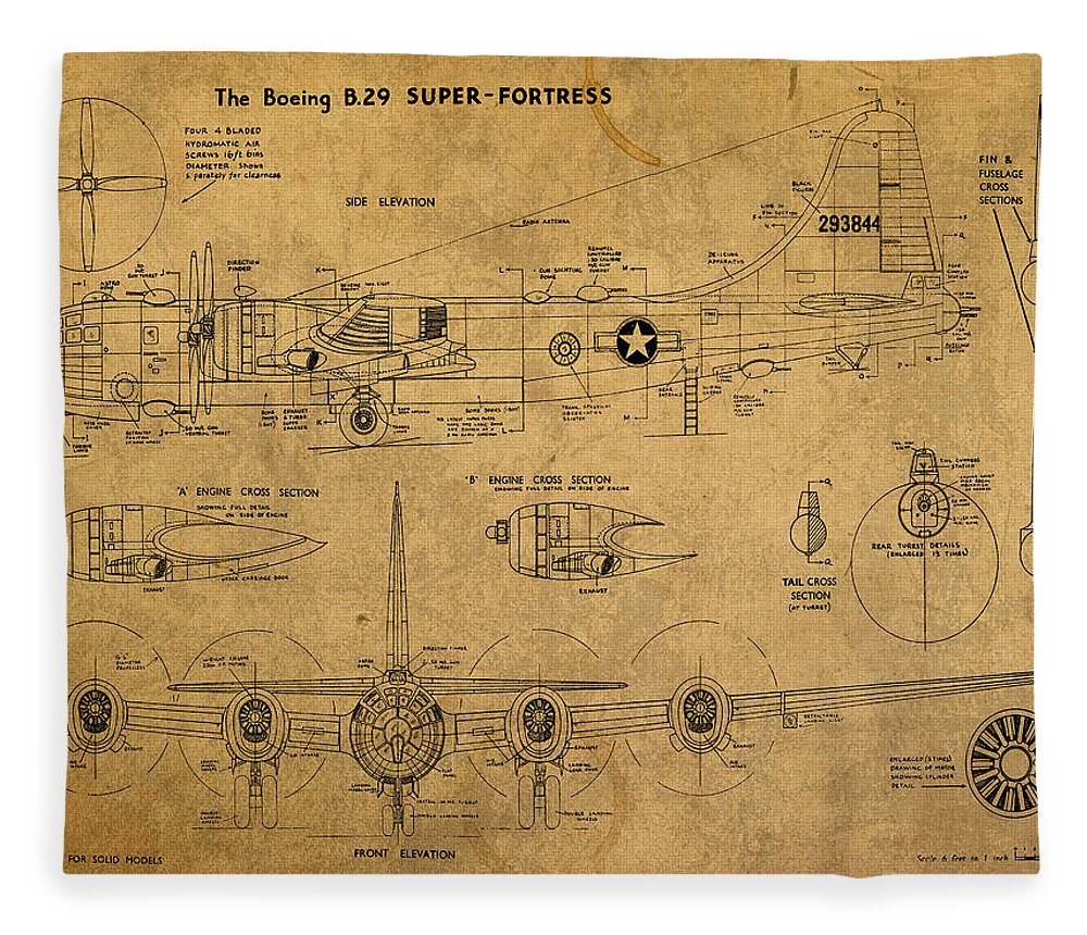 b29 fleece blanket featuring the mixed media b29 superfortress military plane world war two schematic patent [ 1000 x 860 Pixel ]