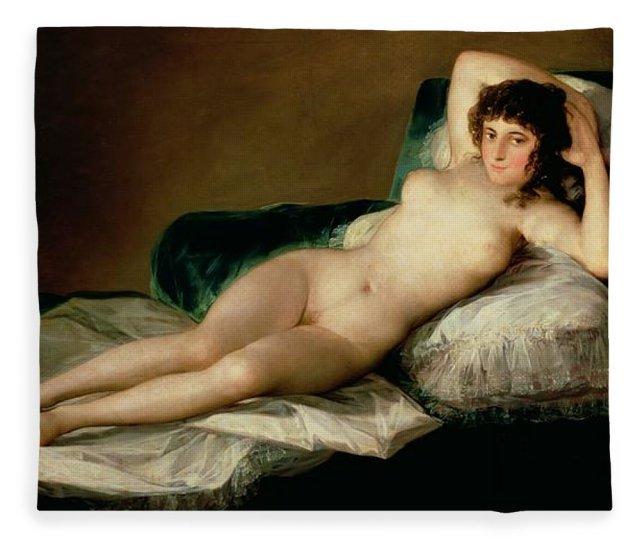 The Naked Maja Fleece Blanket For Sale By Goya