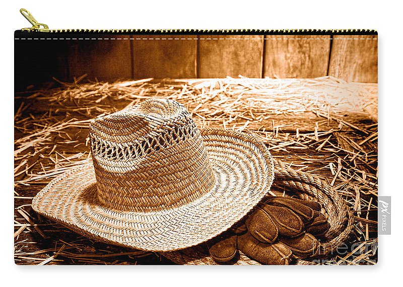 Farmer Straw Hat Sepia Carry All Pouch For Sale By Olivier Le Queinec Large 12 5 X 8 5
