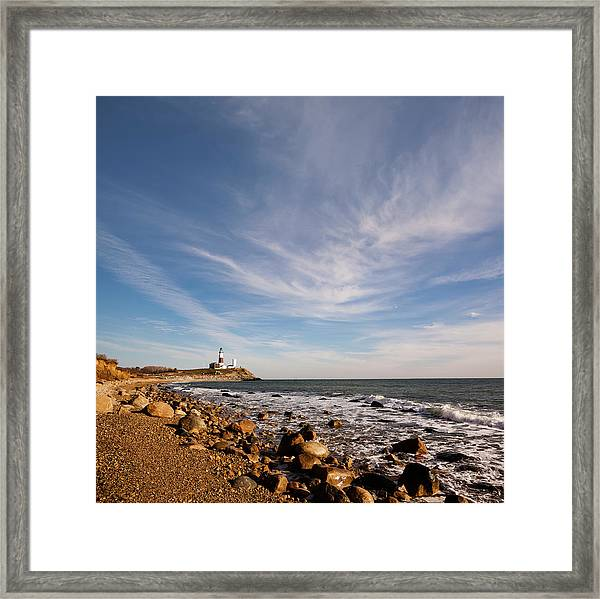 alex sofa montauk brown fabric sectional lighthouse at point long framed print by potemkin panoramic featuring the photograph