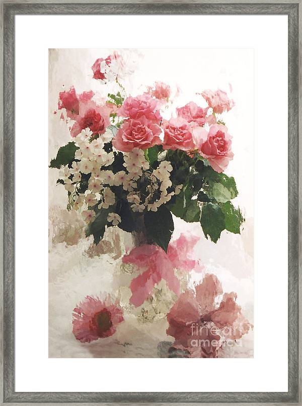 impressionistic watercolor roses in