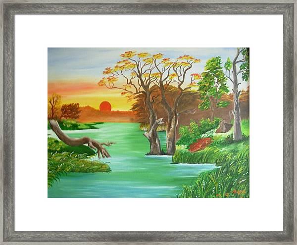 riverside scenery framed print