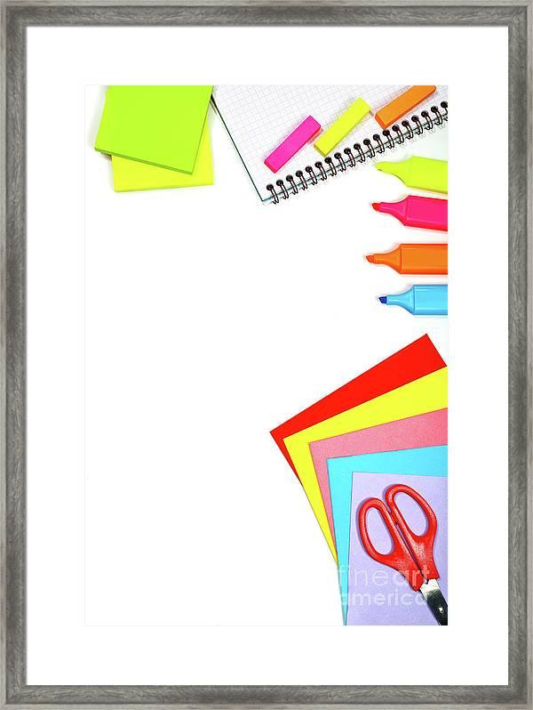 school stationery border framed