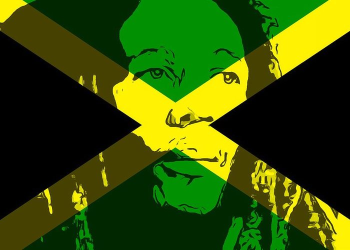 Iphone X Inside View Wallpaper Bob Marley On Jamaican Flag Greeting Card For Sale By Dan