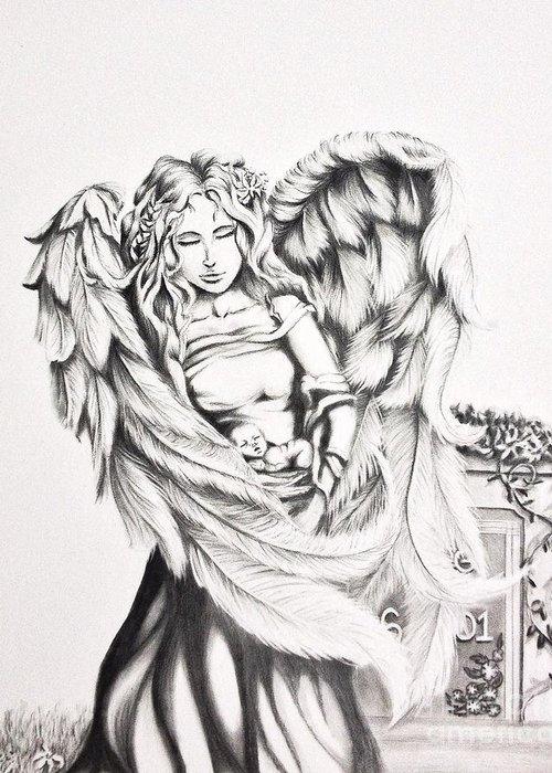 Female Guardian Angel Drawing : female, guardian, angel, drawing, Guardian, Angel, Greeting, Shayla, Tansey