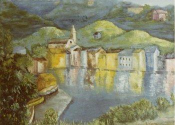 Fantasy Village Painting by Eldora Schober Larson