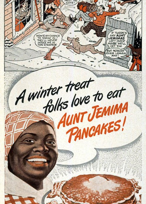 aunt jemima kitchen curtains utility cabinets for ad 1948 greeting card sale by granger domestic featuring the photograph