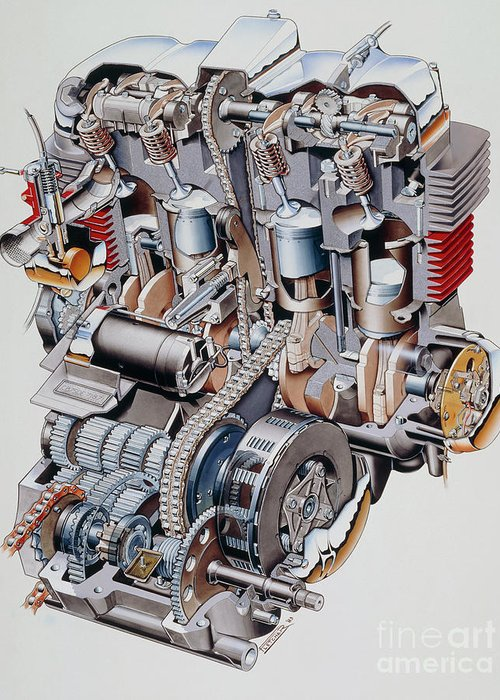 Honda Trx 420 Wiring Diagram Cutaway Illustration Of Honda K2 Motorbike Engine Greeting