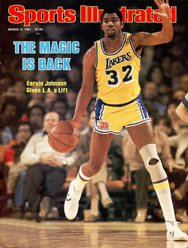 los angeles lakers magic johnson sports illustrated cover poster