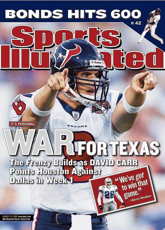 houston texans qb david carr 2002 nfl hall of fame game sports illustrated cover poster