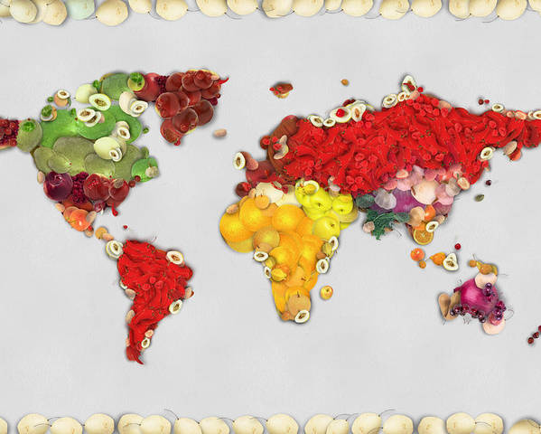 world map fruits and