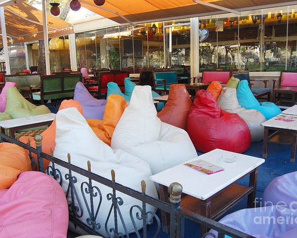 chairs in a bag 2 person lounge chair bean istanbal cafe poster by eva kaufman istanbul featuring the digital art