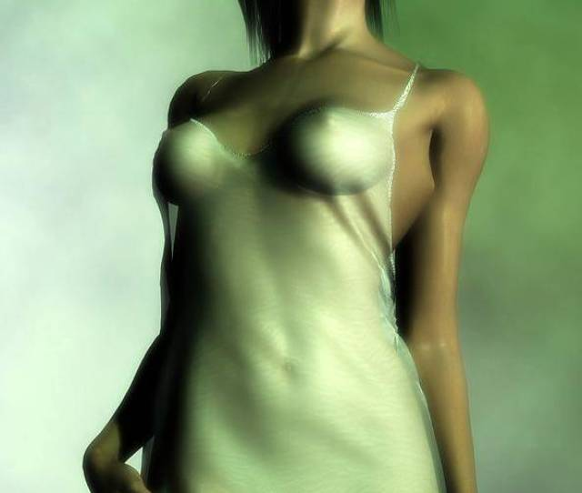 Nightgown Poster Featuring The Digital Art Sheer Nightgown In Green Light By Kaylee Mason