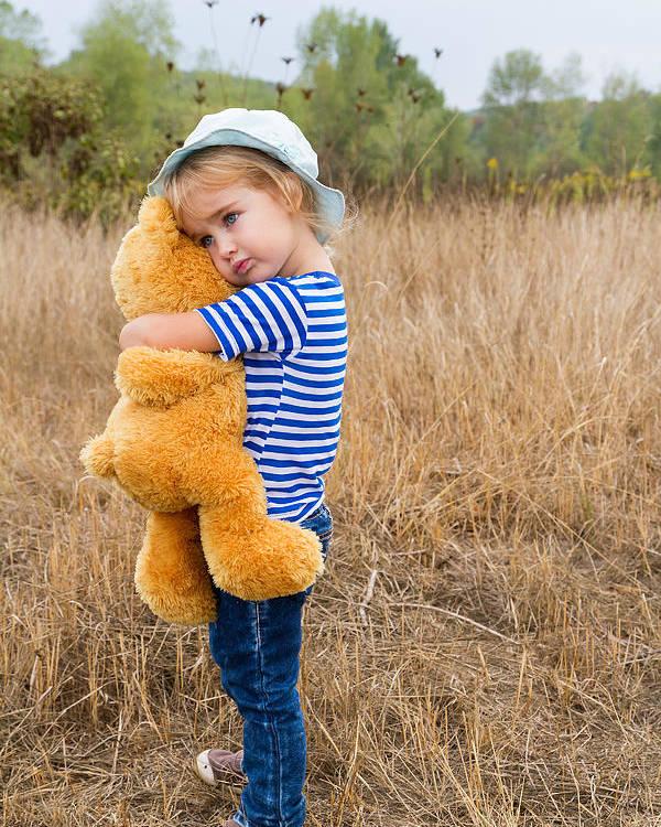 cute little girl hugging