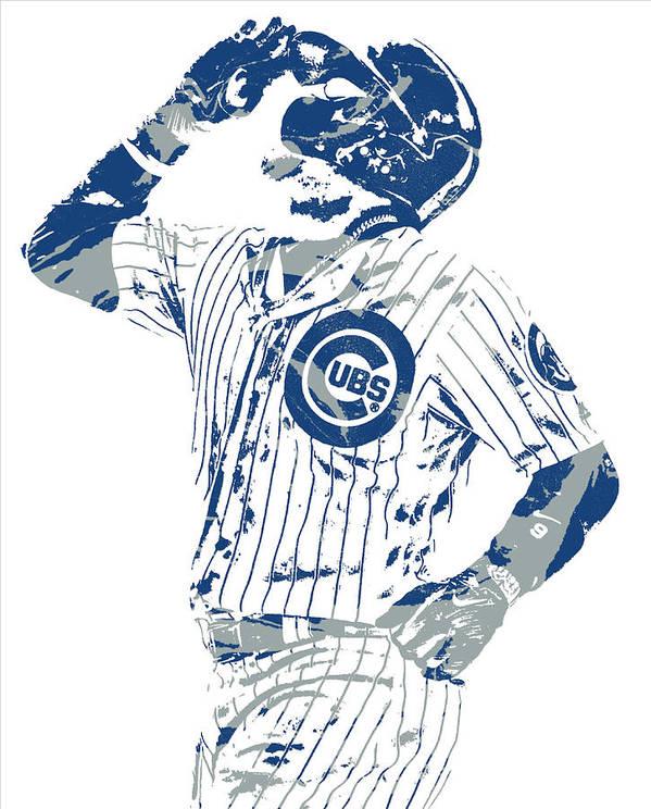 javier baez chicago cubs pixel art 10 poster