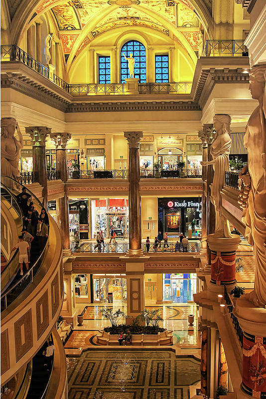 The Forum Shops At Caesars Art Print featuring the photograph The Forum Shops At Caesars, Las Vegas by Tatiana Travelways