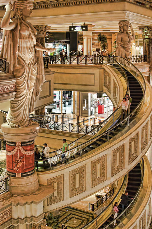 The Forum Shops At Caesars Palace Art Print featuring the photograph The Forum Shops At Caesars Palace, Las Vegas by Tatiana Travelways