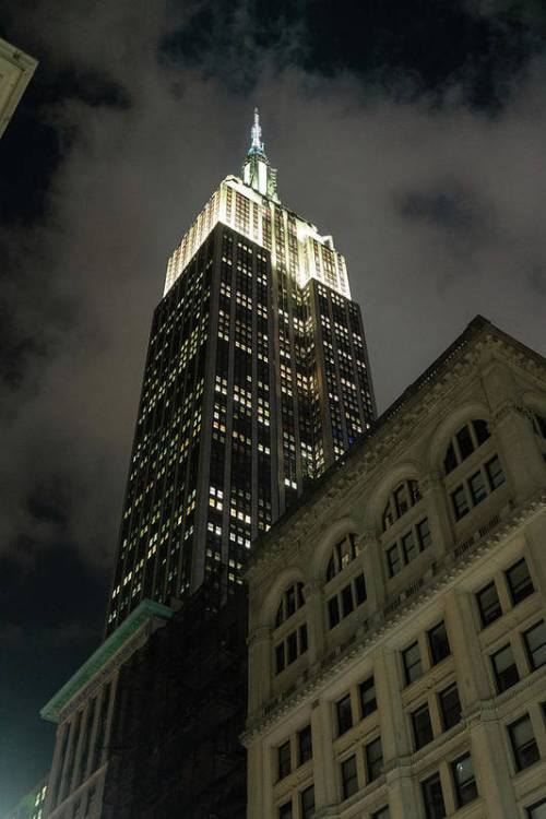 Looking up at the Empire State Building in NYC.
