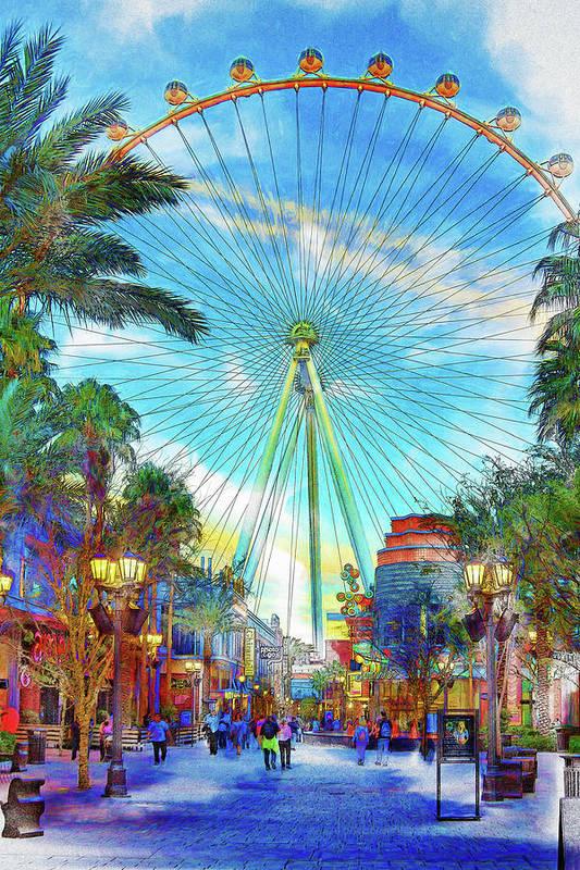 Linq Promenade, Las Vegas watercolor